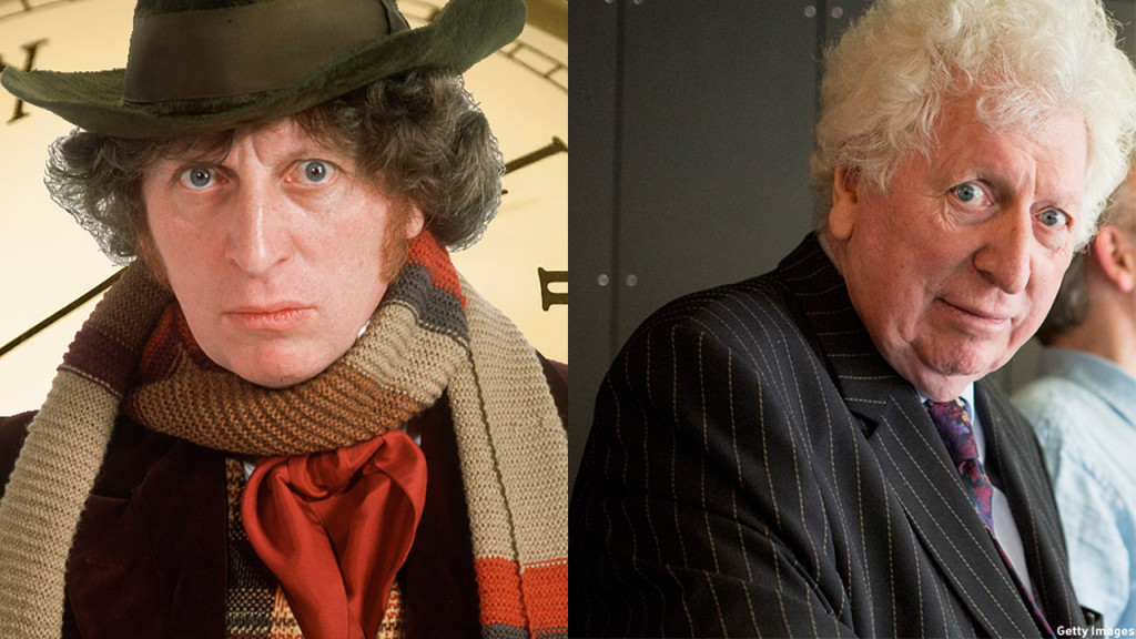 Tom Baker as the Fourth Doctor and in 2013. (BBC/Getty Images)